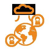 """Erdkugel mit zwei Sprechblasen je einer Figur darin und Wolke """"Cloud"""" darüber orange"""