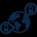 Erdkugel mit zwei Sprechblasen mit je einer Figur darin blau