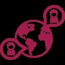 Erdkugel mit zwei Sprechblaten mit je einer Figur darin rot