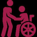 Figur stützt andere Figur im Rollstuhl rot