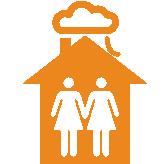 """Haus mit zwei weiblichen Figuren darin mit Wolge """"Cloud"""" darüber orange"""