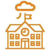 """Schulgebäude mit Uhr und Wolke """"Cloud"""" darüber orange"""