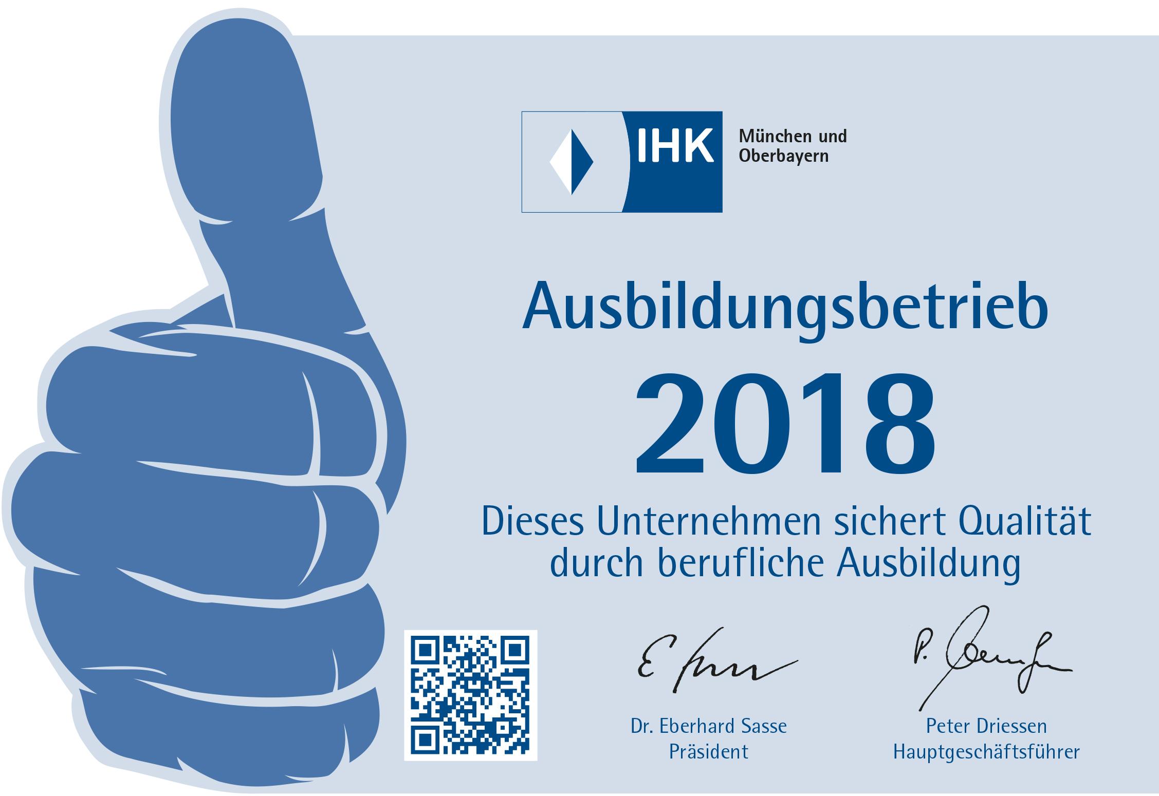 IHK Ausbildungsbetrieb 2018 Daumen nach oben