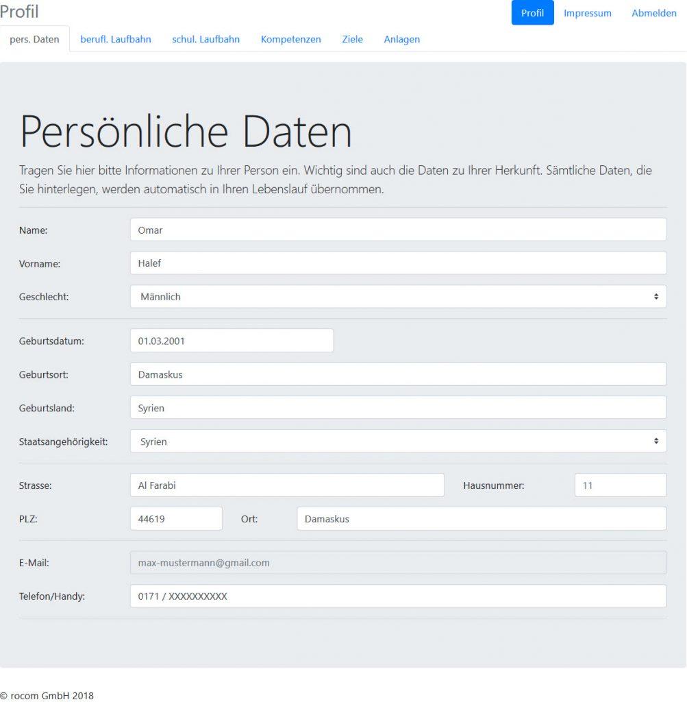 Persönliche Daten Tau-Cloud IntegrationsManager