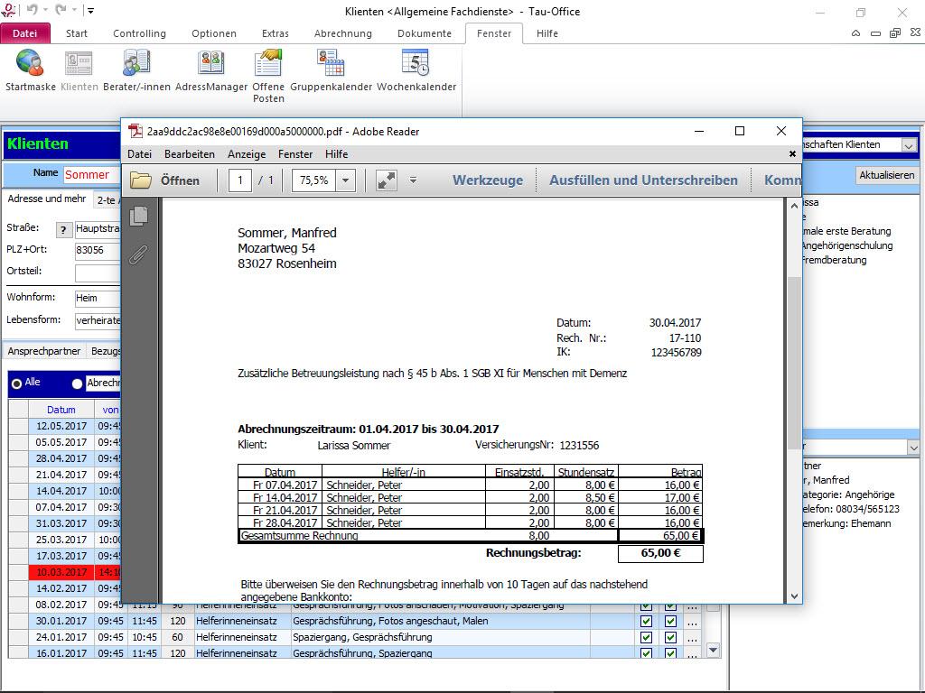 Abrechnung erstellte Rechnung Tau-Office Allgemeine Fachdienste