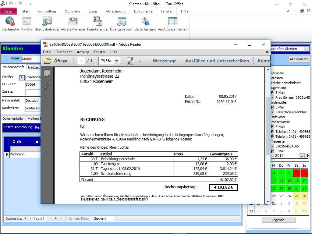 Abrechnung, erstellte Rechnung Tau-Office KiJuHilfe Kinder- und Jugendhilfe
