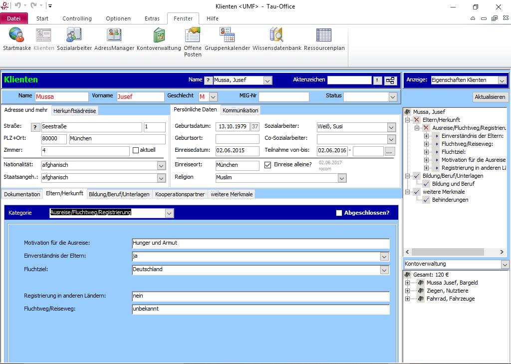 Hinterlegen Sie in weiteren Registern zum Beispiel die geplanten und durchgeführten Integrationsmaßnahmen.