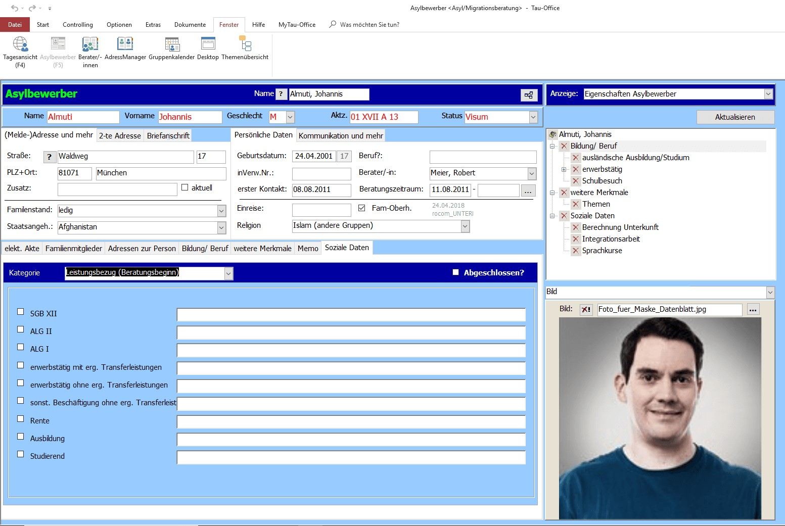 Asylbewerberakte und Soziale Daten Tau-Office Asyl/Migrantenberatung