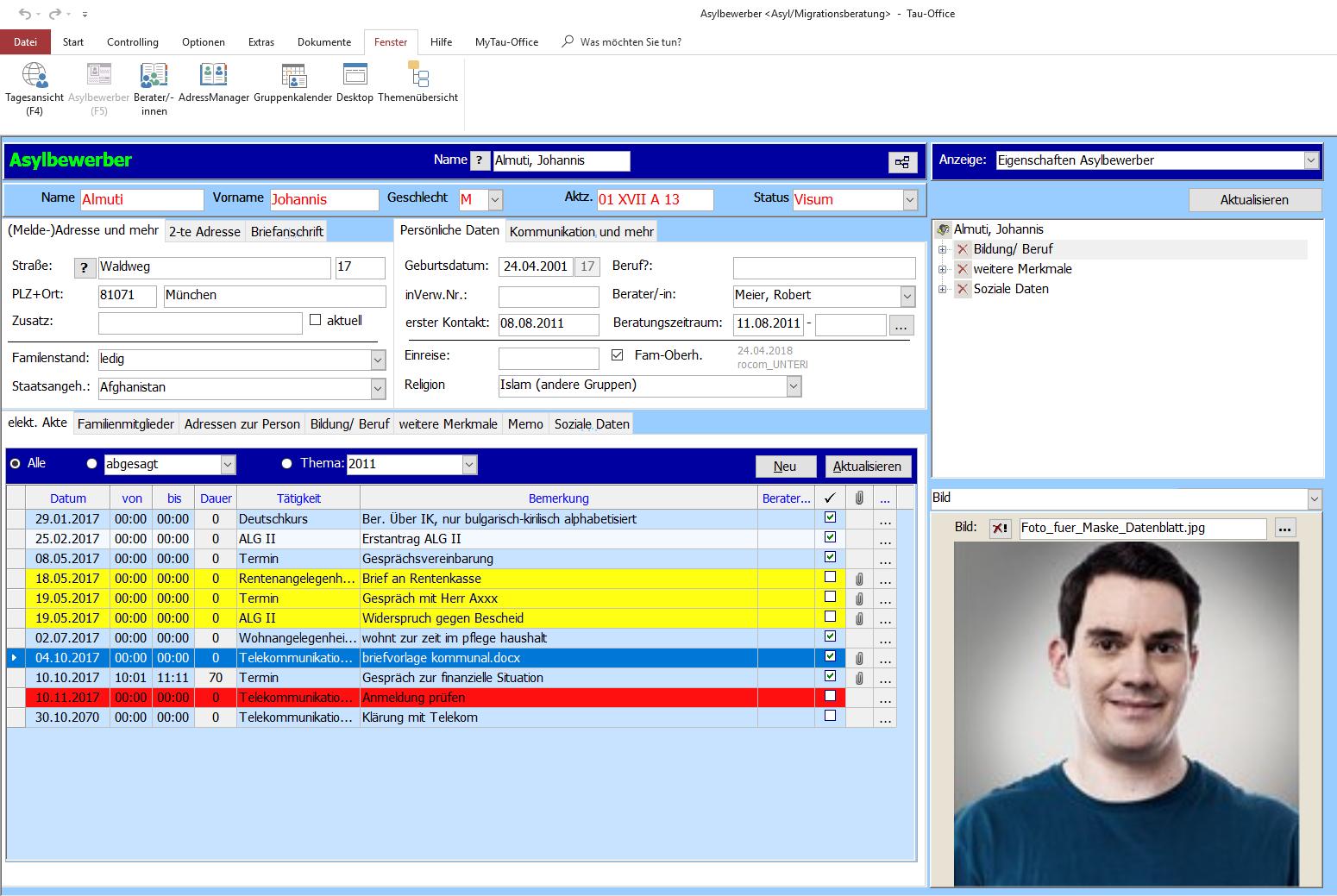 Asylbewerber elektronische Akte (E-Akte) Tau-Office Asyl/Migrationsberatung