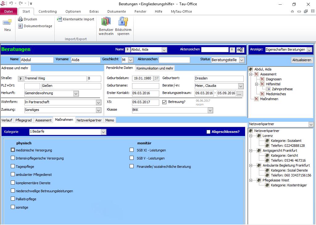 Beratungen mit Maßnahmen in Tau-Office Software zur Eingliederungshilfe