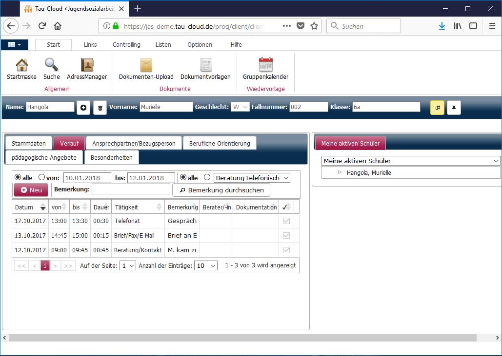 Alle wichtigen Daten zum Schüler/zur Schülerin übersichtlich und komplett zu Ihrer Verfügung.