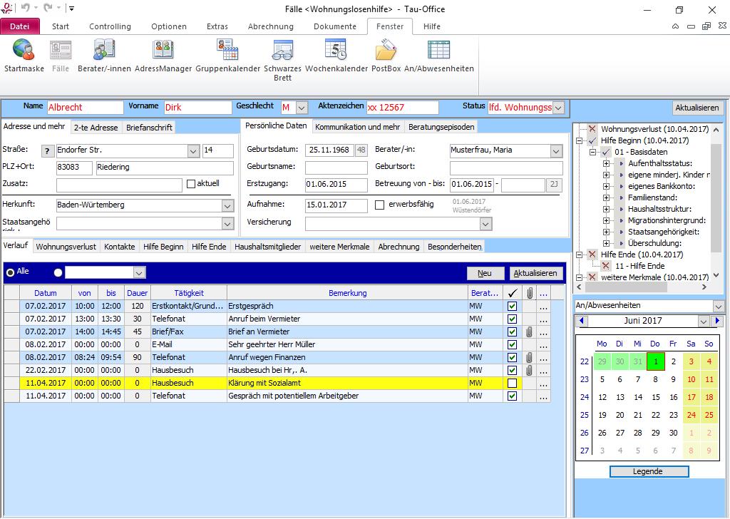 In den Stammdaten des Klienten finden Sie alle Informationen auf einen Blick.