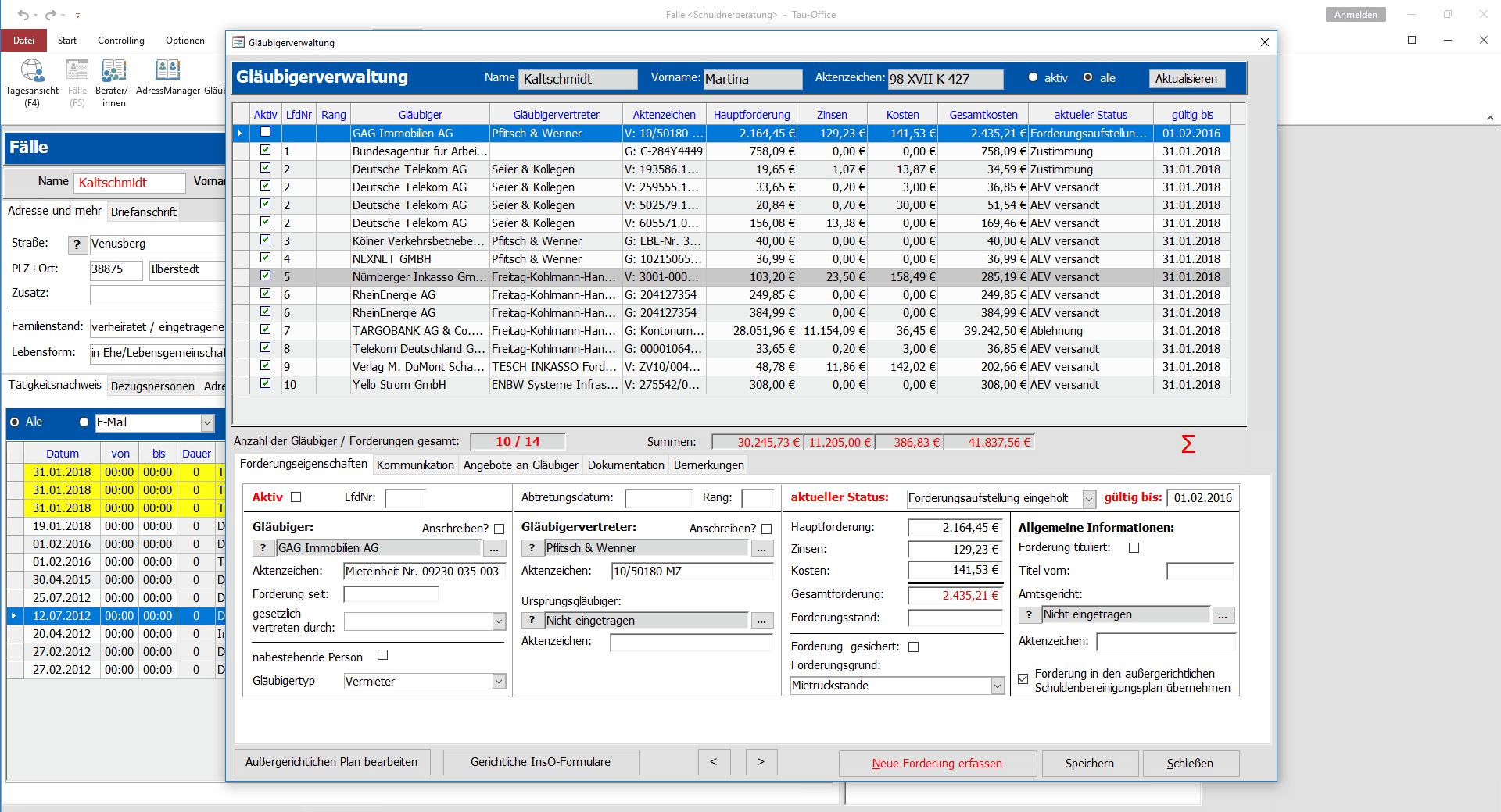 Gläubigerverwaltung Tau-Office Schuldnerberatung