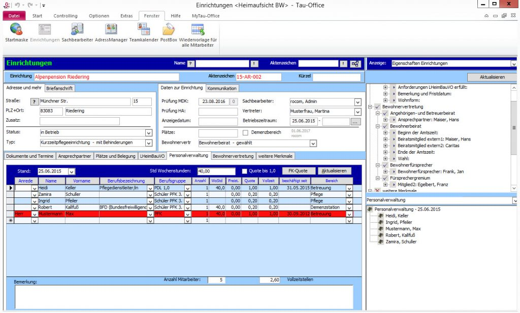 Alle relevanten Personaldaten für die Berechnung und Überprüfung der Fachkraftquoten in einem Register.