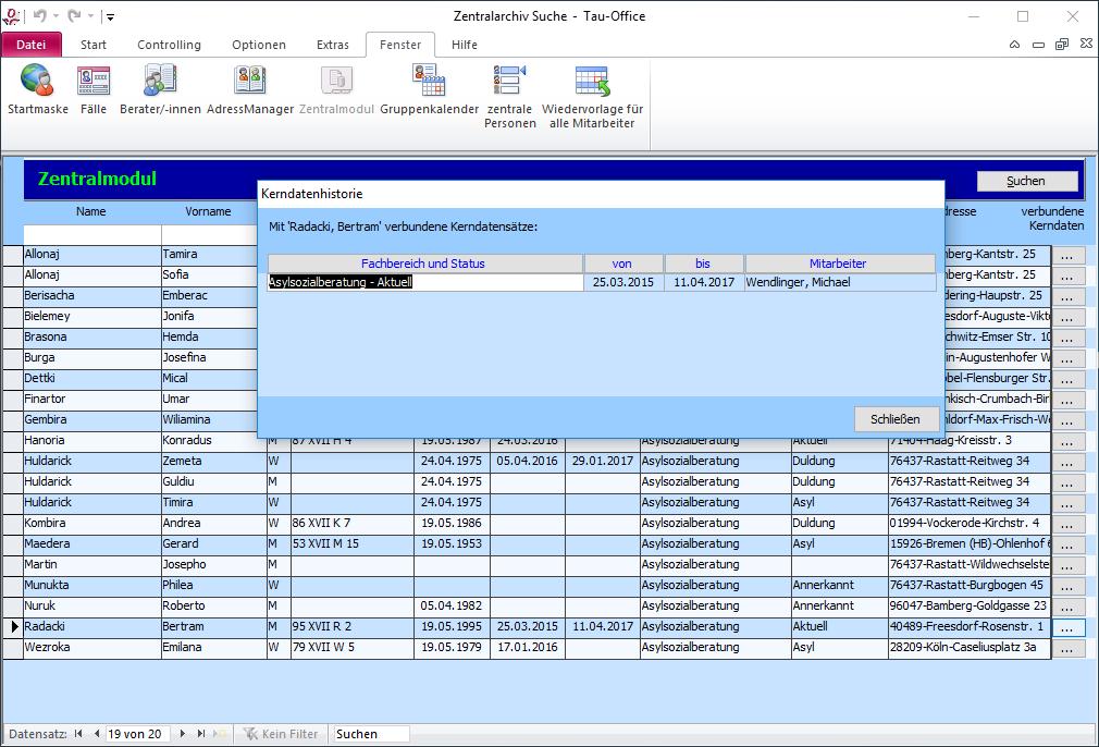 Zentralmodul Zentralarchiv Kerndatenhistorie in Tau-Office