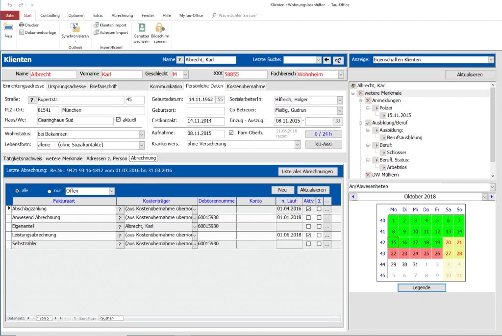 Auslastungskontrolle und Abrechnungsüberblick mit unserer Dokumentationssoftware für betreutes Wohnen.
