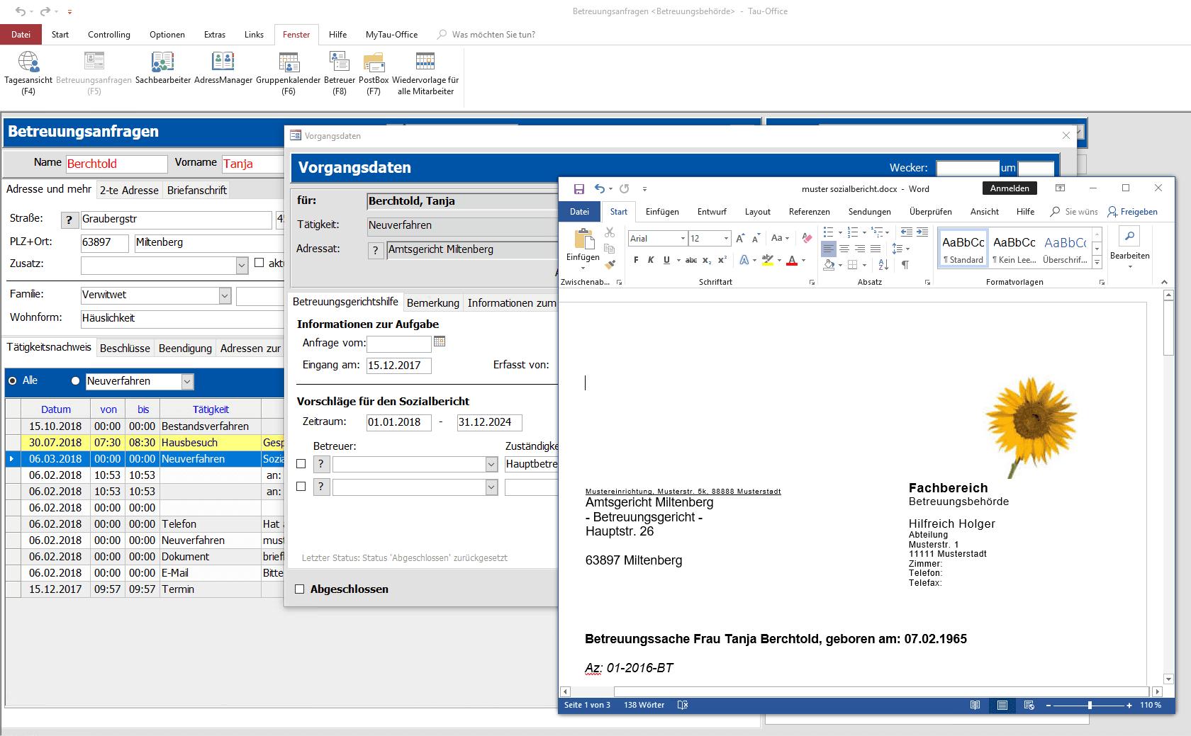Vorgangsdaten mit Musterbrief Tau-Office BetreuungsManager