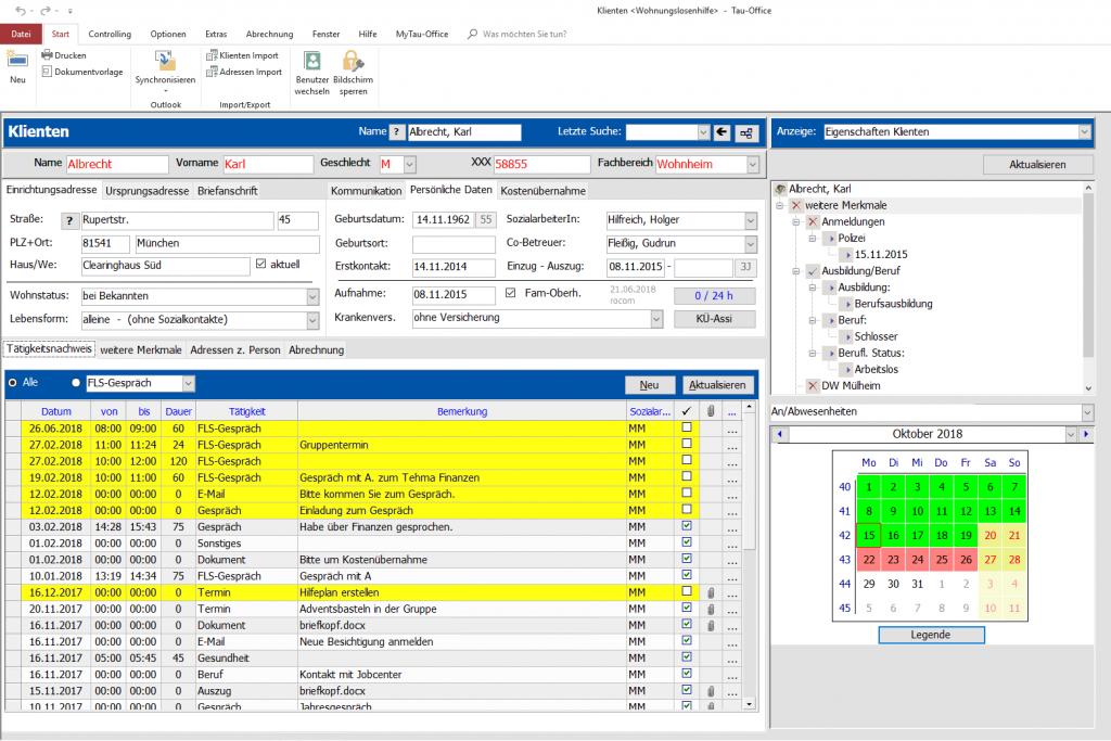 Sofort im Blick: Sämtliche Daten rund um die betreute Person - vom Betreuer über den Beschluss bis zu den StammdatenKlientenakte und Tätigkeitsnachweis Tau-Office WoHi Wohnungslosenhilfe
