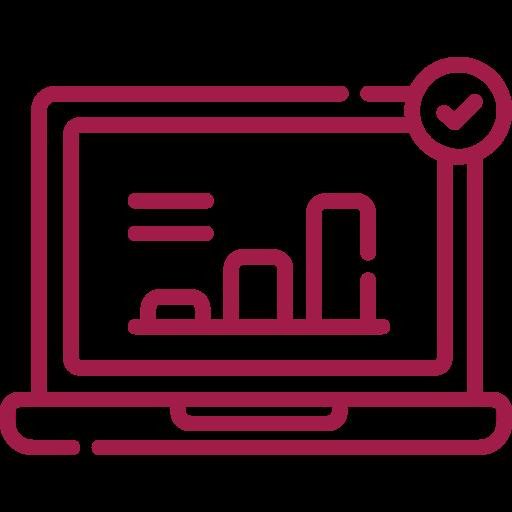Laptop mit Statistik und Häckchen rot