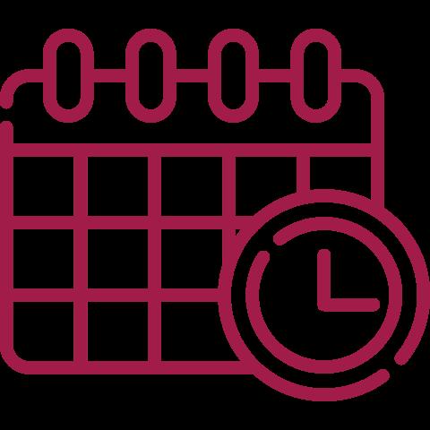 Terminkalender und Uhr rot
