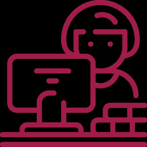 weibliches Männchen vor PC mit Dokumenten rot