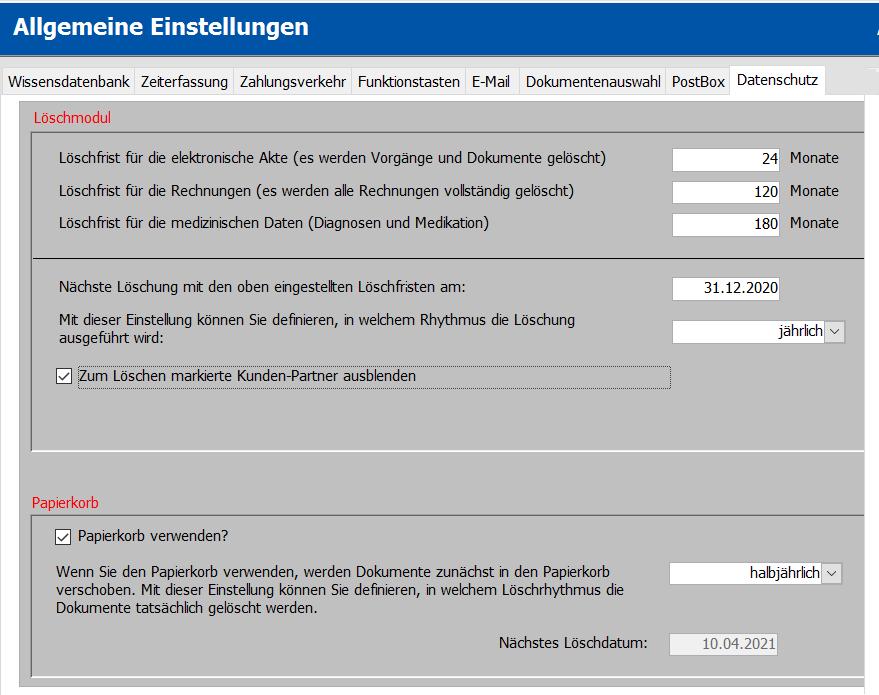 Screenshot des Software Zusatzmodul Löschmodul von Tau-Office