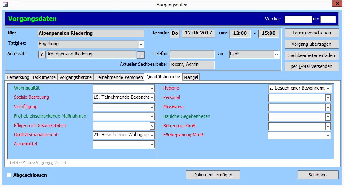 Maske aus Tau-Office Heimaufsicht-Vorgangsdaten. Abbildung: Kombination Schlüsselqualifikationen Qualiätsbereiche nach Prüfleitfaden des StMAS