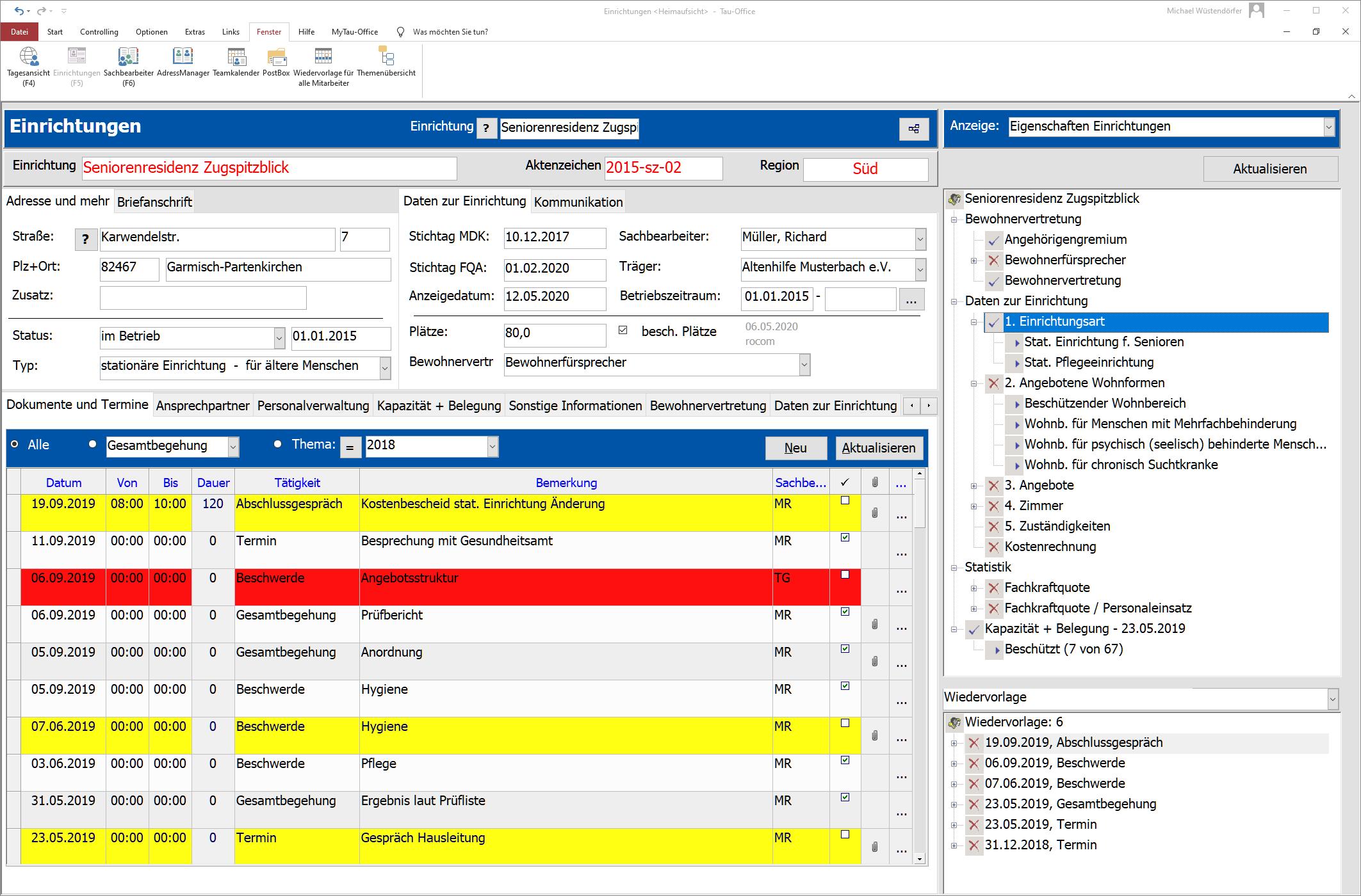 Dokumente und Termine verwalten mit der Sotware Tau-Office Heimaufsicht / FQA
