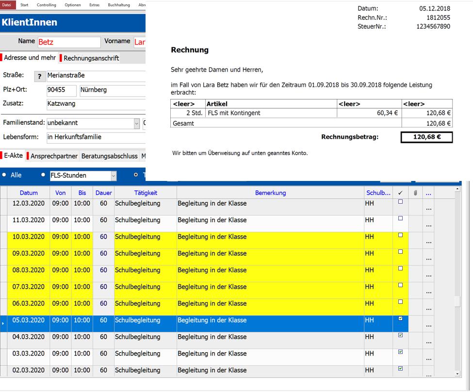 Screenshot, bereich Abrechnung der Dokumentationssoftware zur Schulbegleitung