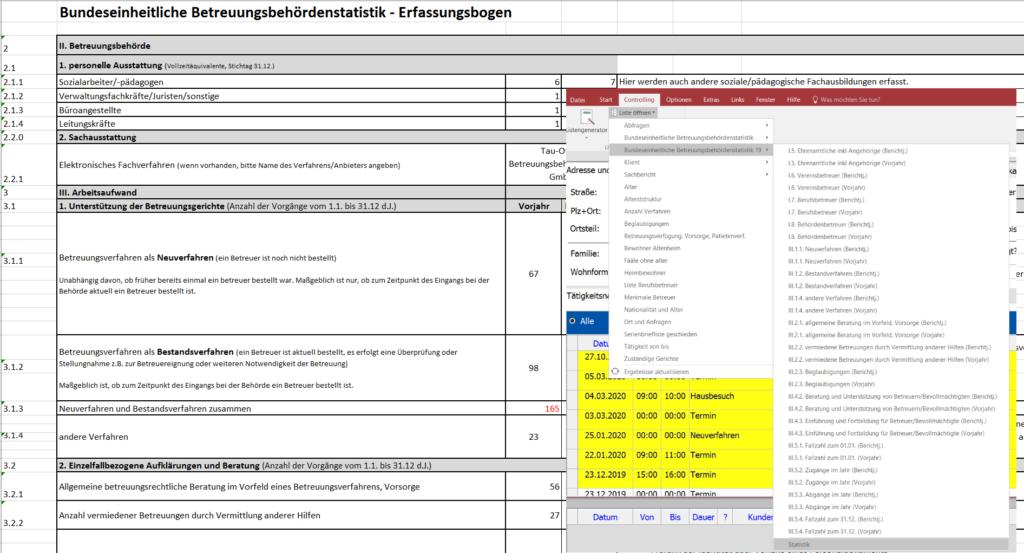 Screenshot aus der Software für Betreuungsbehörden , Betreuungssoftware Tau-Office