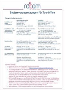 Systemvorraussetzungen Tau-Office 2021