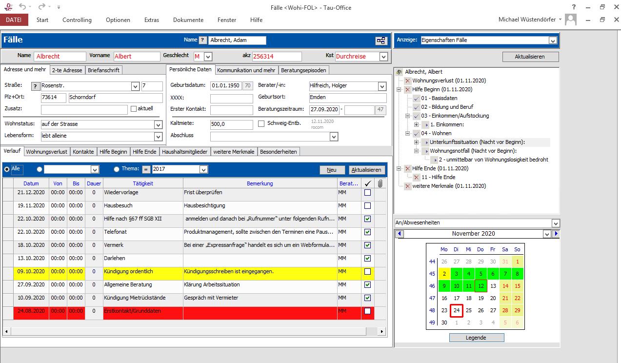 Screenshot Software Tau-Office Wohnungslosenhilfe