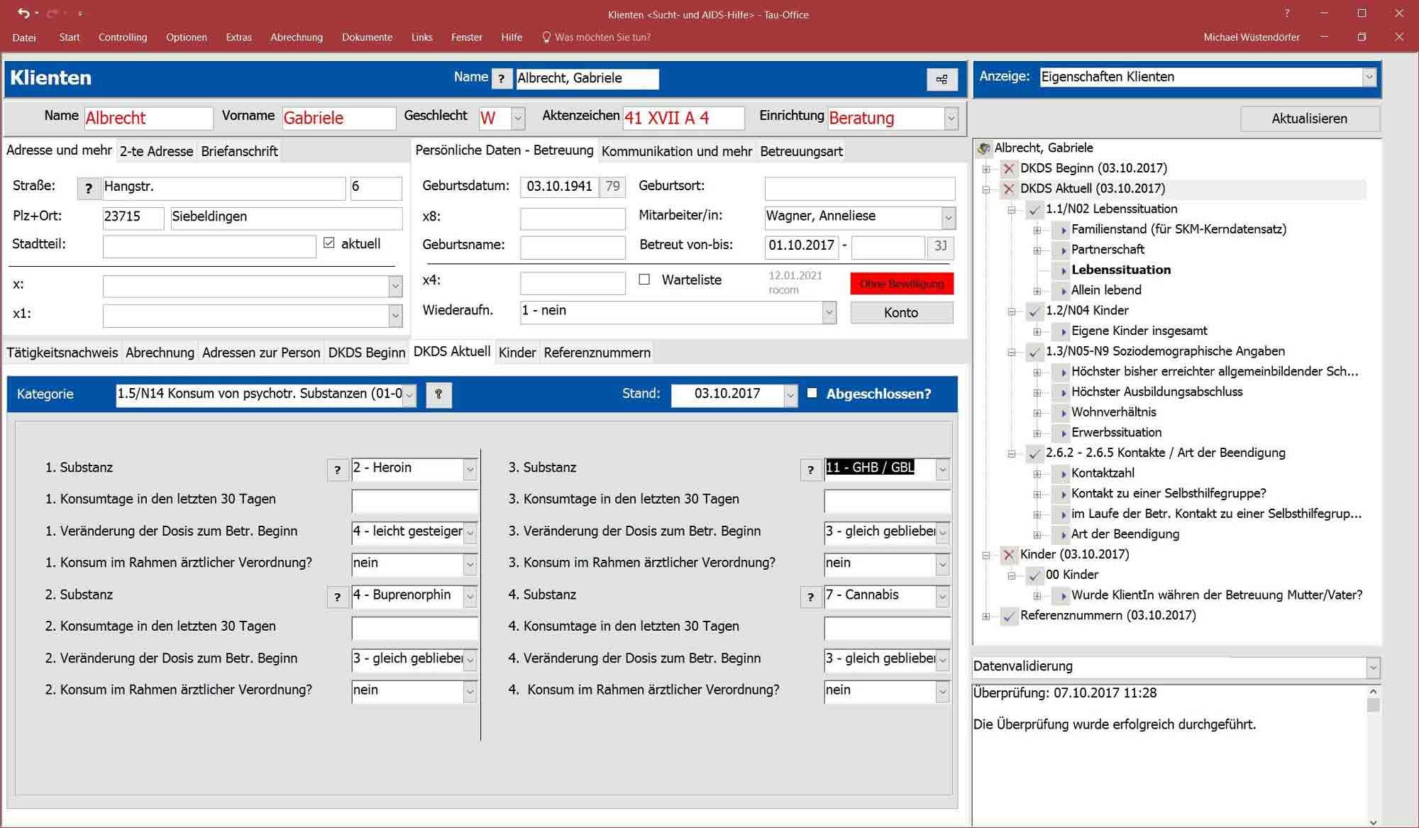 Screenshot der Software zur Sucht- und Drogenberatung von rocom