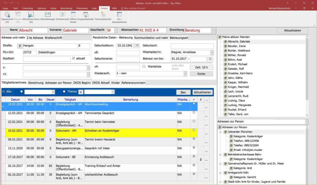 Screenshot der E-Akte mit Tätigkeitsnachweis in der Software zur Sucht- und Drogenberatung