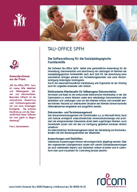 Screenshot der broschüre zur Software für die Sozialpädagogische Familienhilfe
